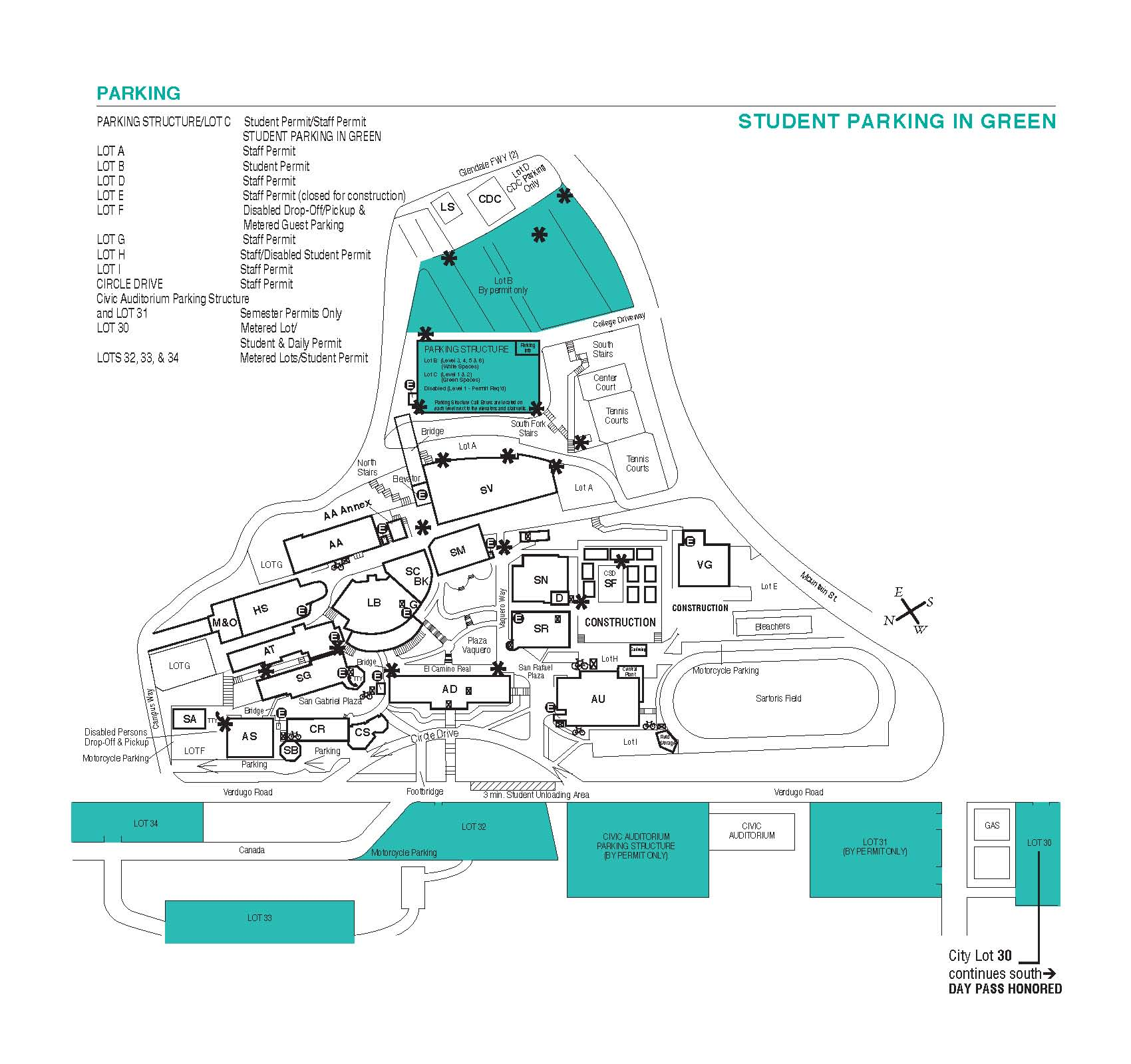 Student Parking Map | Glendale Community College