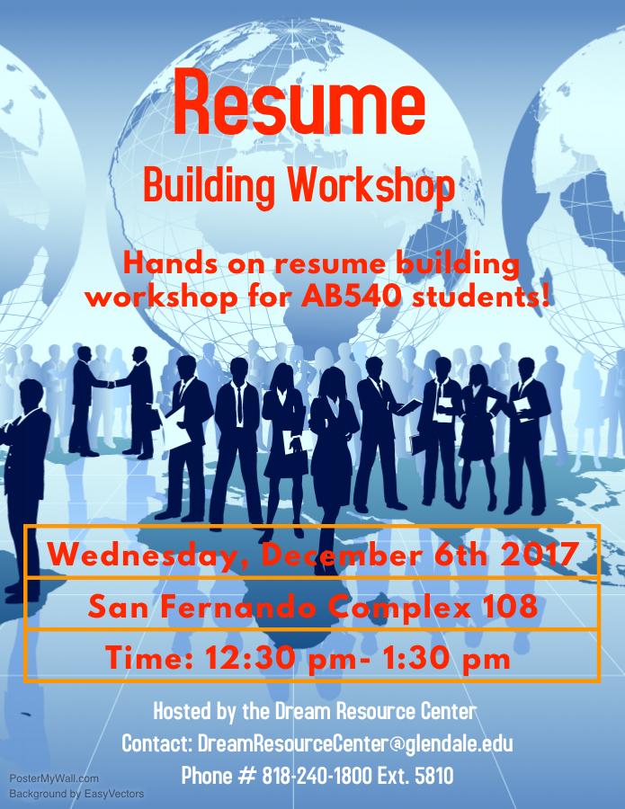 Resume Building Workshop For Ab540 Students Gcc Calendar All