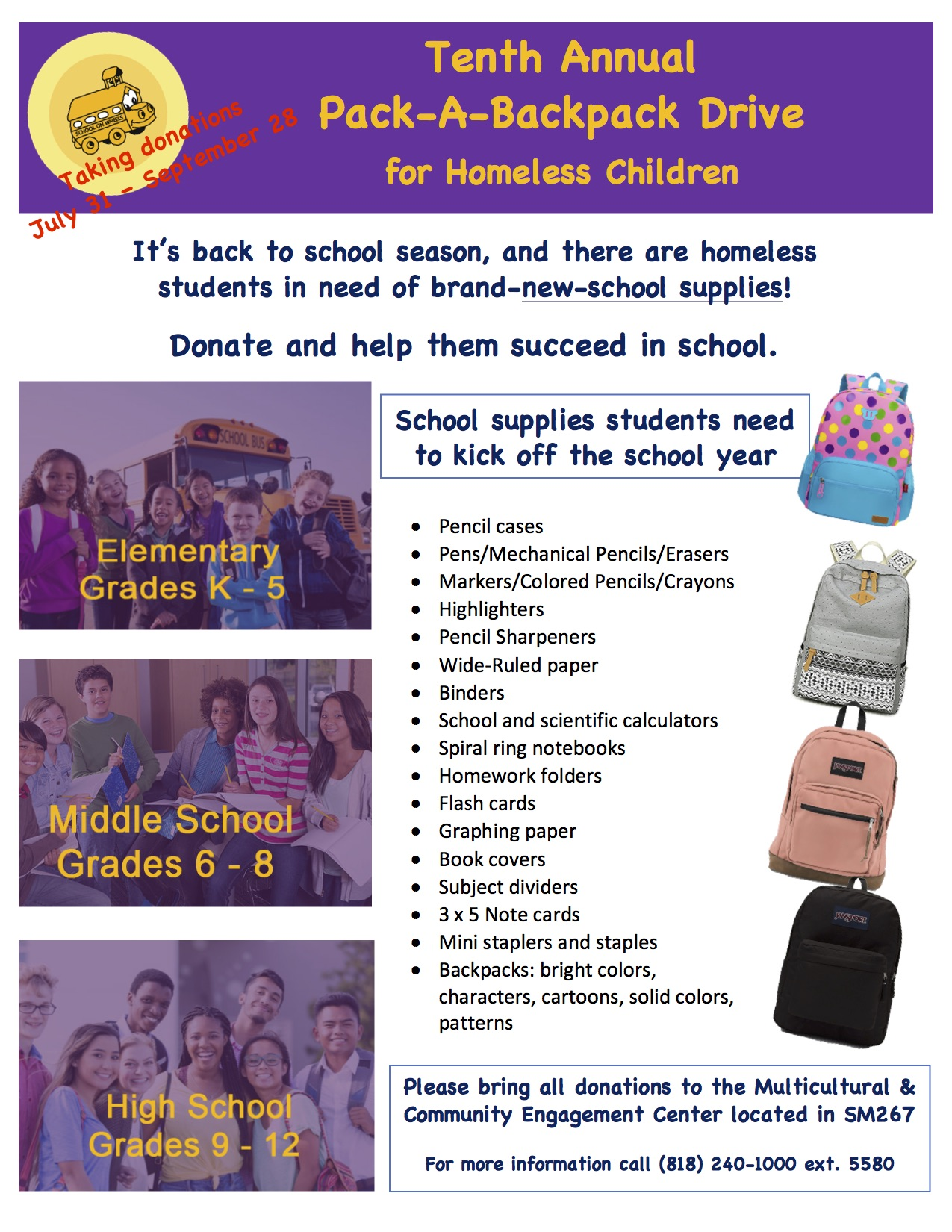 10th Annual Pack-A-Backpack Drive
