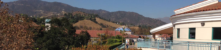 science center with hills in background