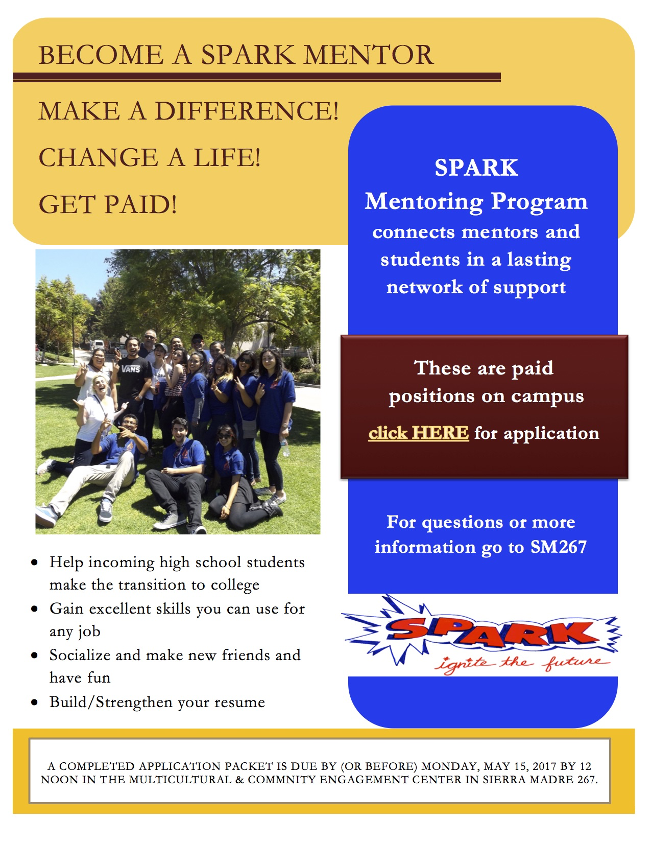 SPARK Mentor Applications Due | GCC Calendar - All events