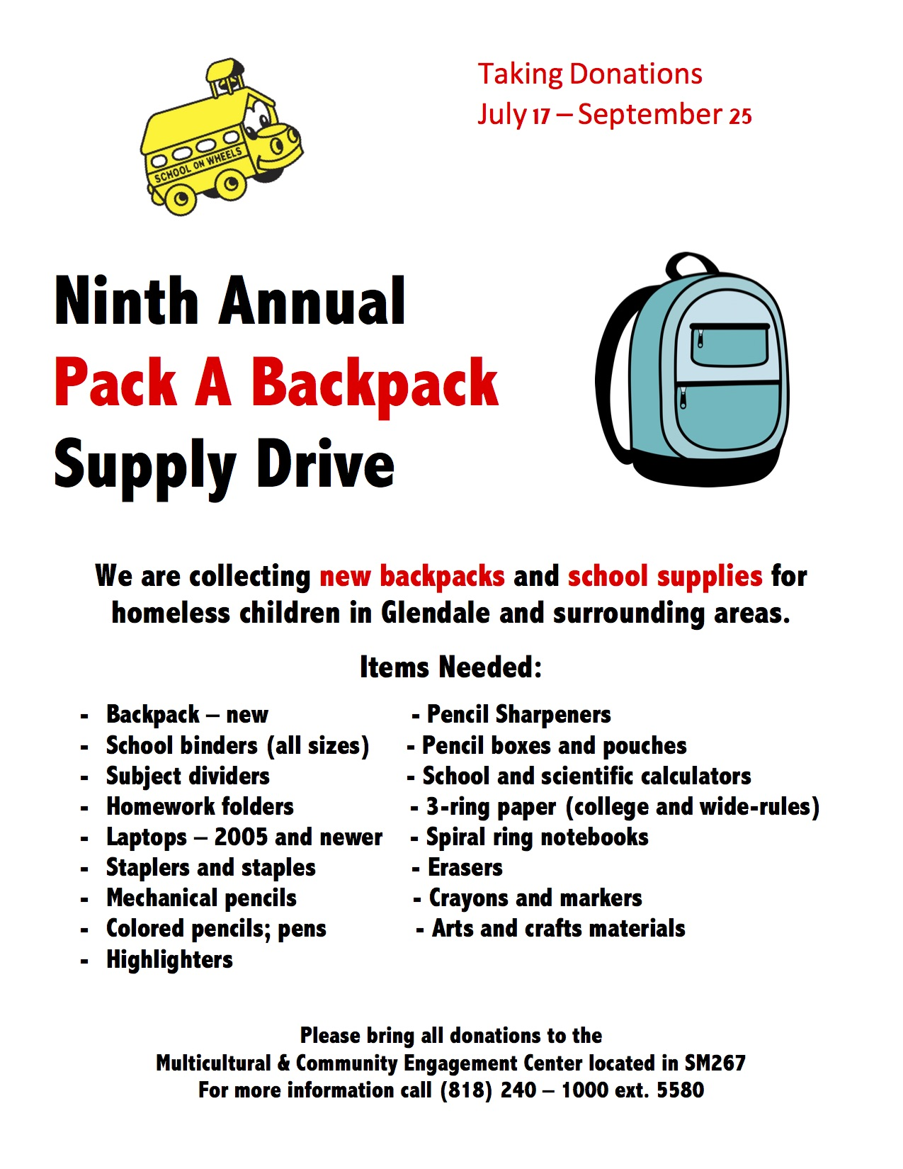 Pack a Backpack Drive | Events List | Glendale Community College