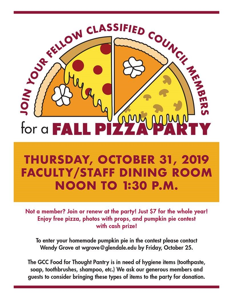 Fall Pizza Party flyer 2019