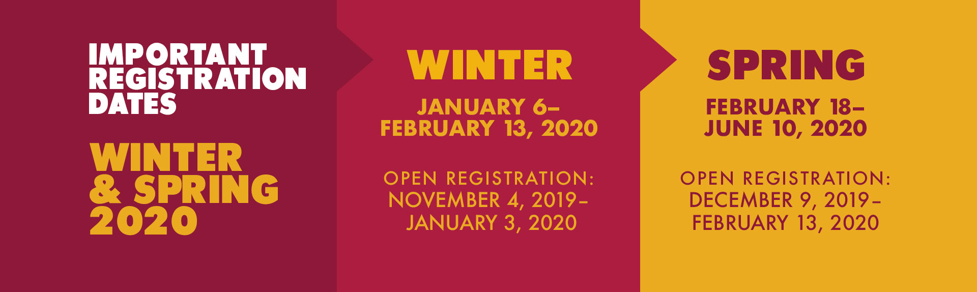 Winter and Spring 2020 Important Dates