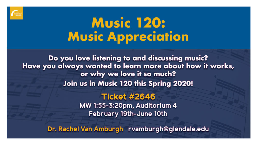 Music 120, Music Appreciation flyer, Spring 2020