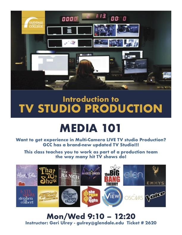 Media 101 Introduction to TV studio production flyer, Spring 2020