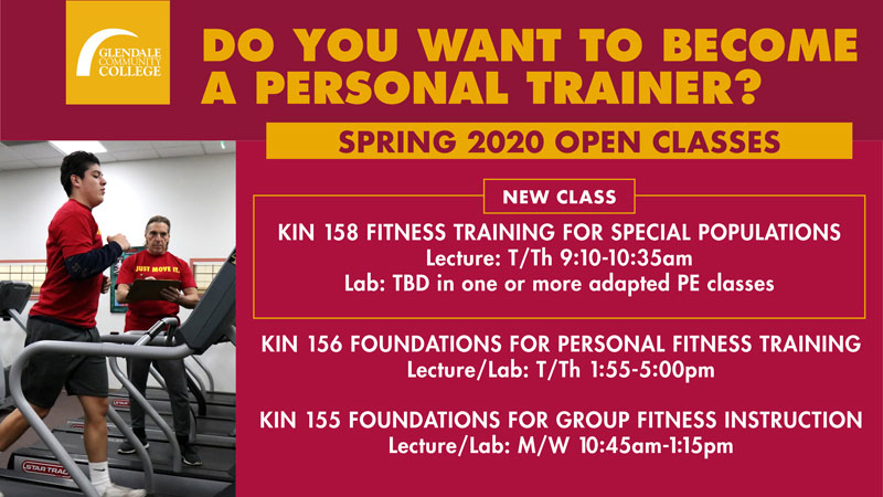 SPRING 2020 open classes, KIN 158, 156, 155 flyer