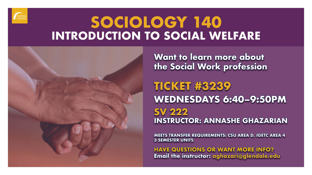 Sociology 140, Introduction to social welfare, Spring 2020 flyer